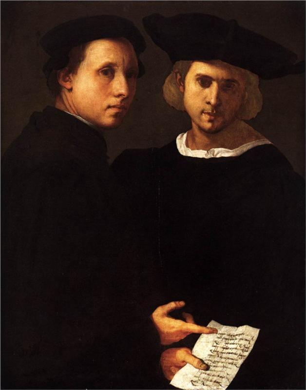Portrait of Two Friends, 1522 Jacopo Pontormo. Art Experience NYC www.artexperiencenyc.com/social_login/?utm_source=pinterest_medium=pins_content=pinterest_pins_campaign=pinterest_initial