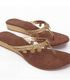 Buy Brown Golden Gini Wedges footwear online