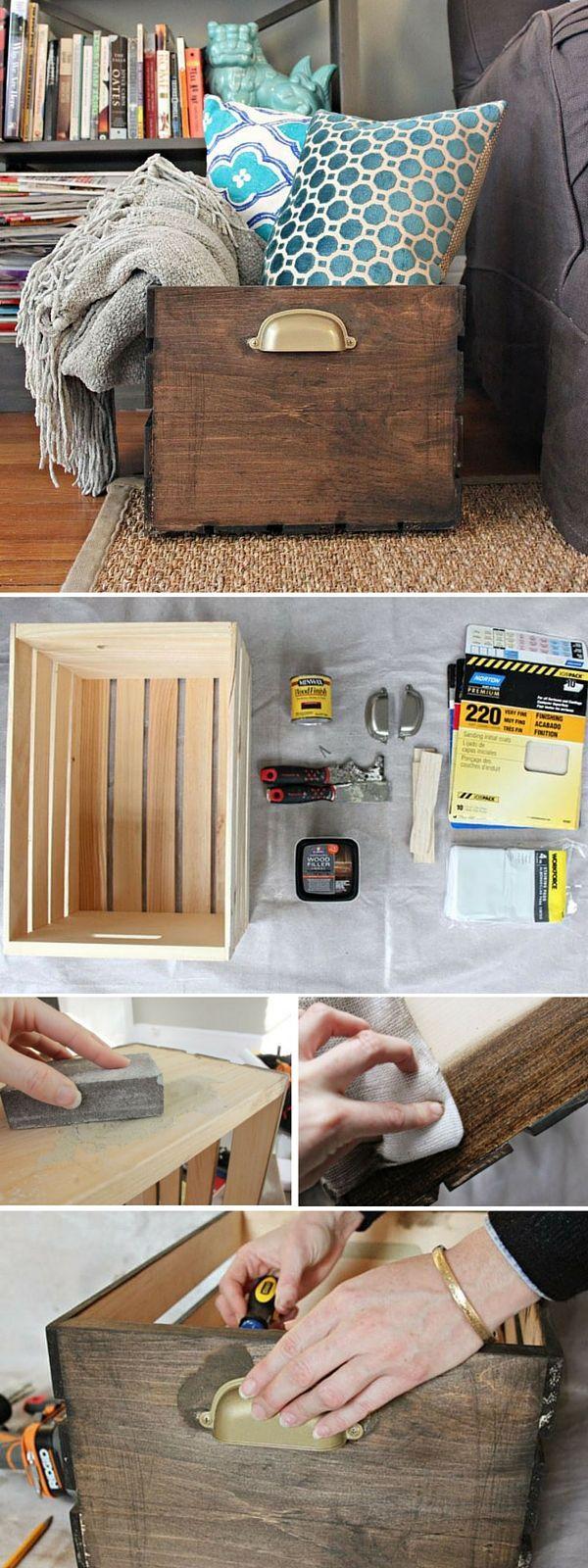 Wohnung renovieren in den Ferien mit coolen DIY Ideen *** Check out the tutorial: #DIY Storage Crate #crafts #rustic #homedecor