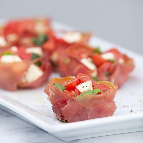Crispy Prosciutto Cups with Caprese Chopped Salad