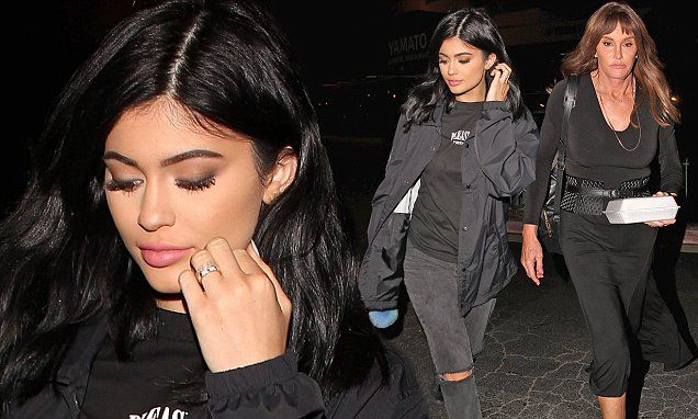 Kylie Jenner and father Caitlyn wear matching black ensembles at sushi