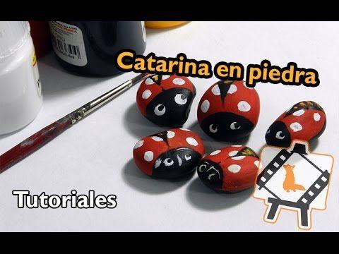 """Pintura en piedras """"Catarina"""" / Stone painting """"ladybug"""": Tutorial"""