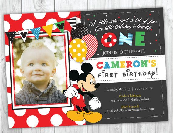 Best 25 Mickey mouse birthday invitations ideas – Mickey Mouse First Birthday Party Invitations