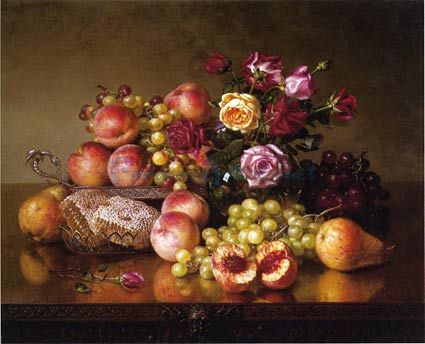 Fruit Still Life With Roses And Honeycomb oil painting by ...