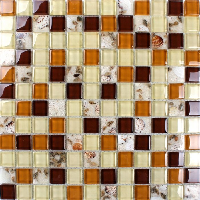 brown color zone sea shell mixed glass mosaic tiles for kitchen backsplash tile bathroom shower fireplace wall mosaic