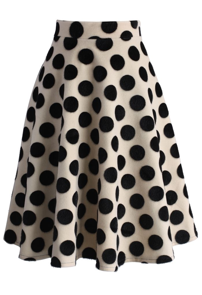 Polka Dots Velvet A-line Midi Skirt - New Arrivals - Retro, Indie and Unique Fashion