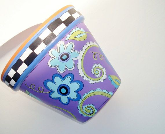 Hand Painted Flower Pot Terra Cotta Whimsical by ThePaintedPine, $25.00