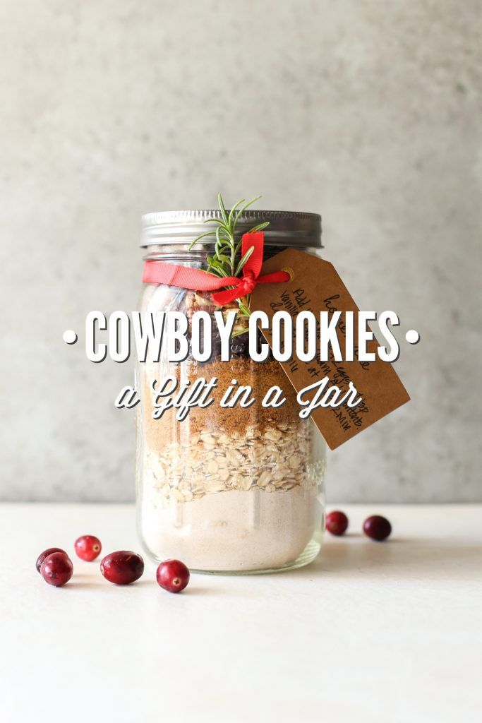 A naturally-sweetened, whole grain cowboy cookie mix made in a mason jar. These jars make awesome gifts. Plus, a printable gift tag with the instructions (Free, too!).