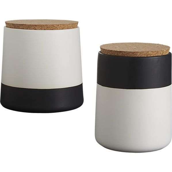 dip black and white canisters - smaller one for sugar, bigger one for coffee