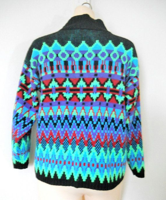 Tribal Print Sweater Aztec Tribal Sweater 80s by TheVilleVintage, $40.00