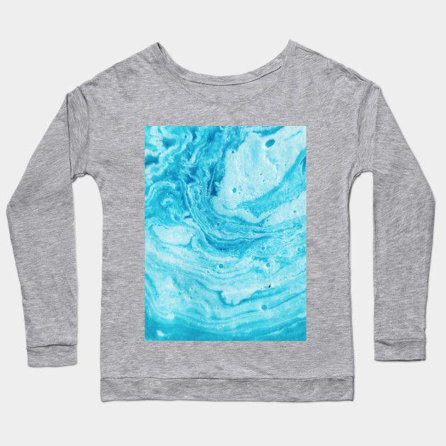 Aqua Blue Watercolor Art Aqua Blue Long Sleeve T Shirt