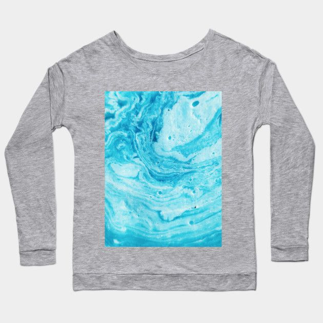 Aqua Blue Watercolor Art Aqua Blue Long Sleeve T Shirt