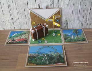Reisegutschein Überraschungsbox Explosionsbox Geschenkbox Geschenkgutschein Geldgeschenk Reise Geburtstag Koffer Städtereise Amsterdam Paris Berlin Hamburg