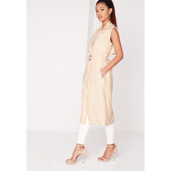 Missguided Arabela  Sleeveless Lightweight Trench Coat (£36) ❤ liked on Polyvore featuring outerwear, coats, camel, sleeveless trench coat, camel coat, summer coat, summer trench coat and lightweight trench coat
