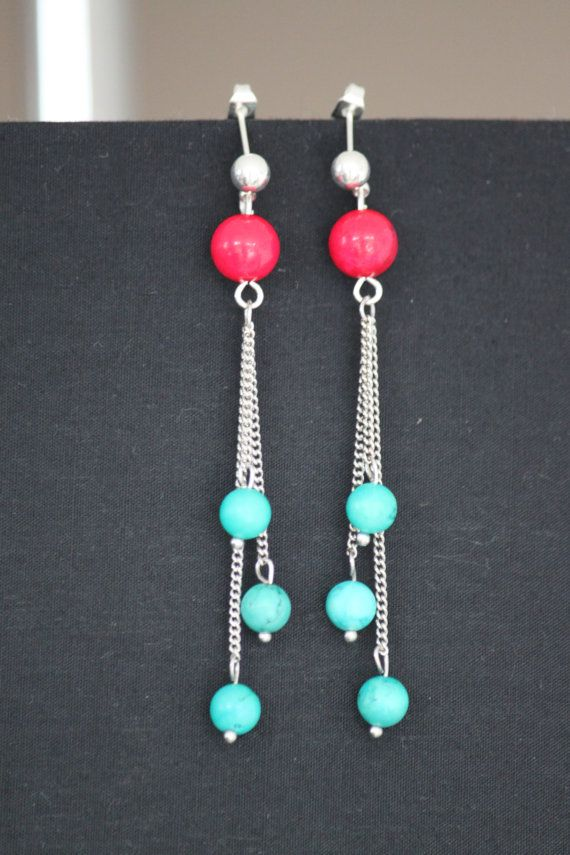 Chain earring with real claret and turquoise by DeaJewelleryStore
