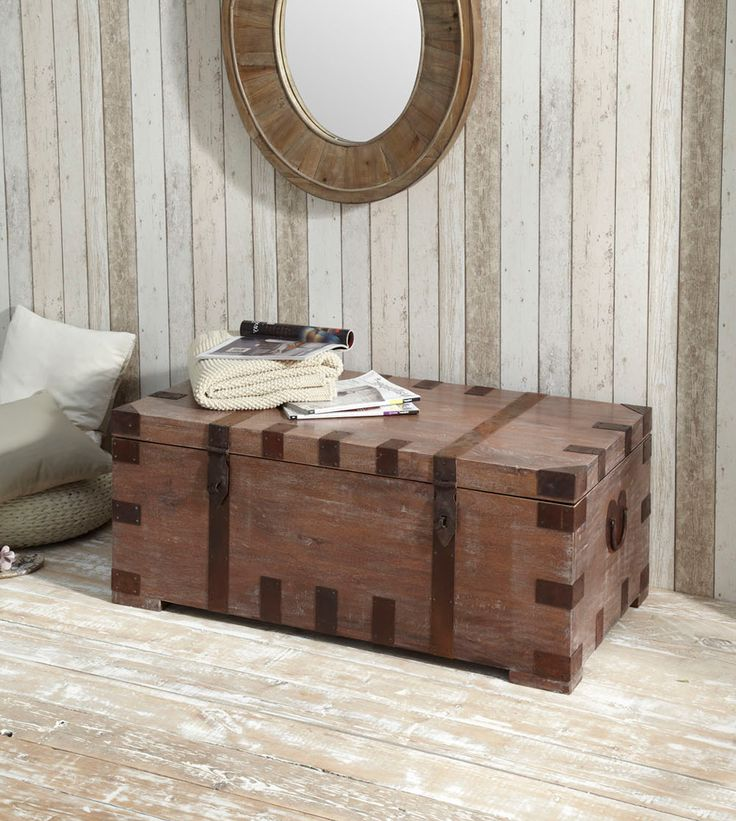 Bram Trunk / coffee table - Lovely rustic piece. Made of hand forged and hammered iron fitted around solid acacia wood. http://dennest.com/livingroom/45-bram-coffee-table.html