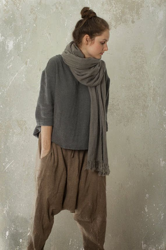 LINEN / WOOL blend Sarouel Harem Pants SHANTI / Trousers