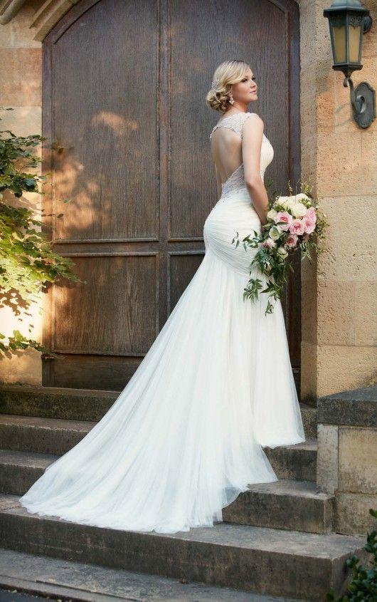 D2078 French Tulle Lavish Satin Wedding Gown By Essense Of Australia