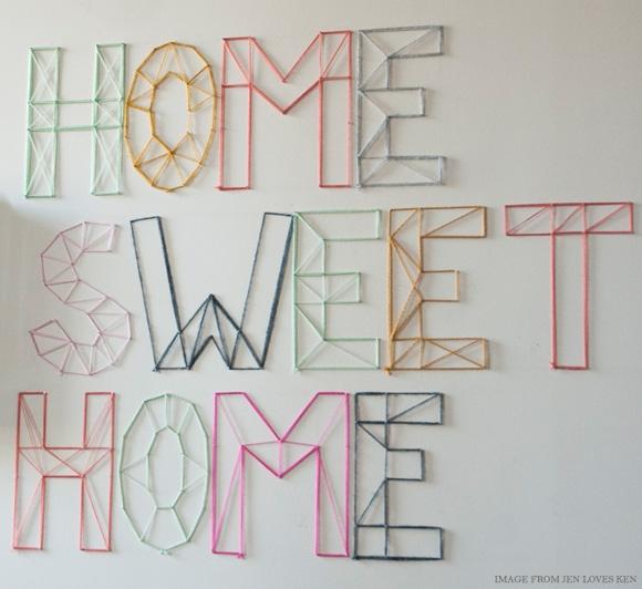 DIY Nail and Yarn Wall Art [Jen LovesKen via Creature Comforts]