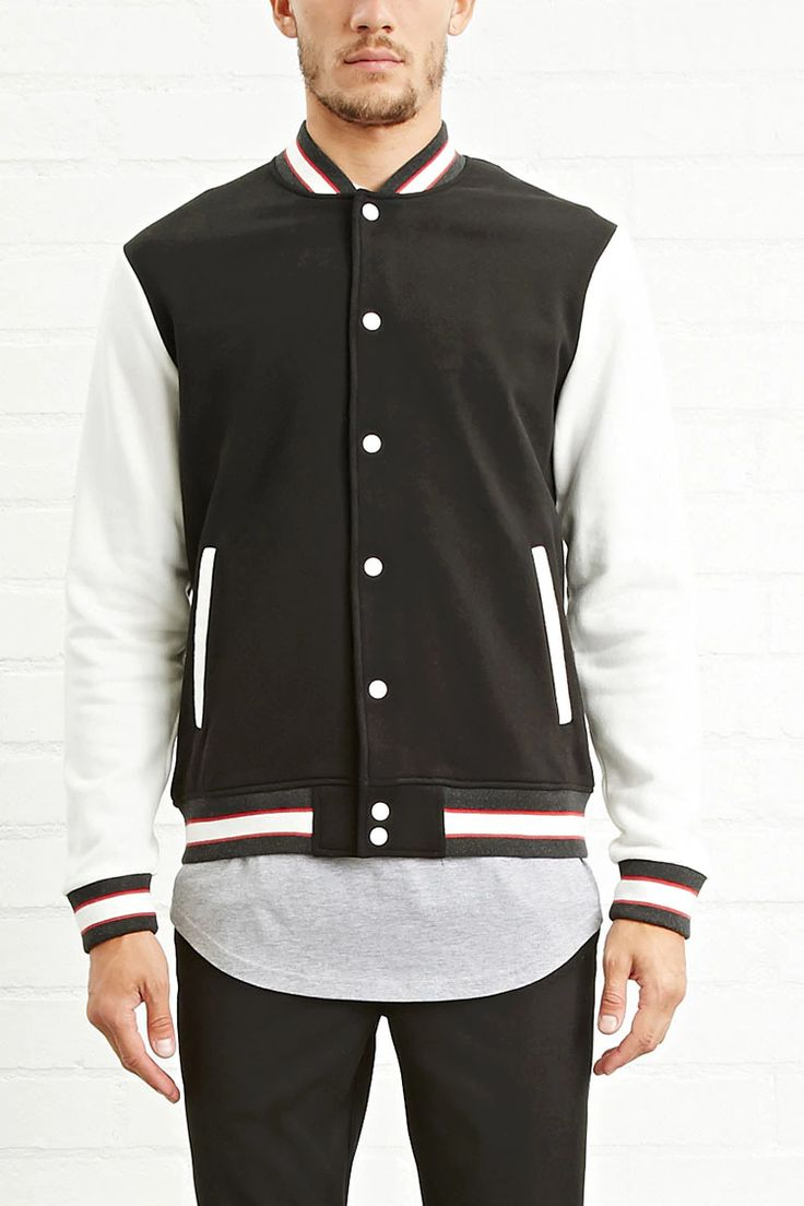 A knit baseball jacket with contrast long sleeves, striped ribbed trim, a snap-buttoned front, and slanted front welt pockets.
