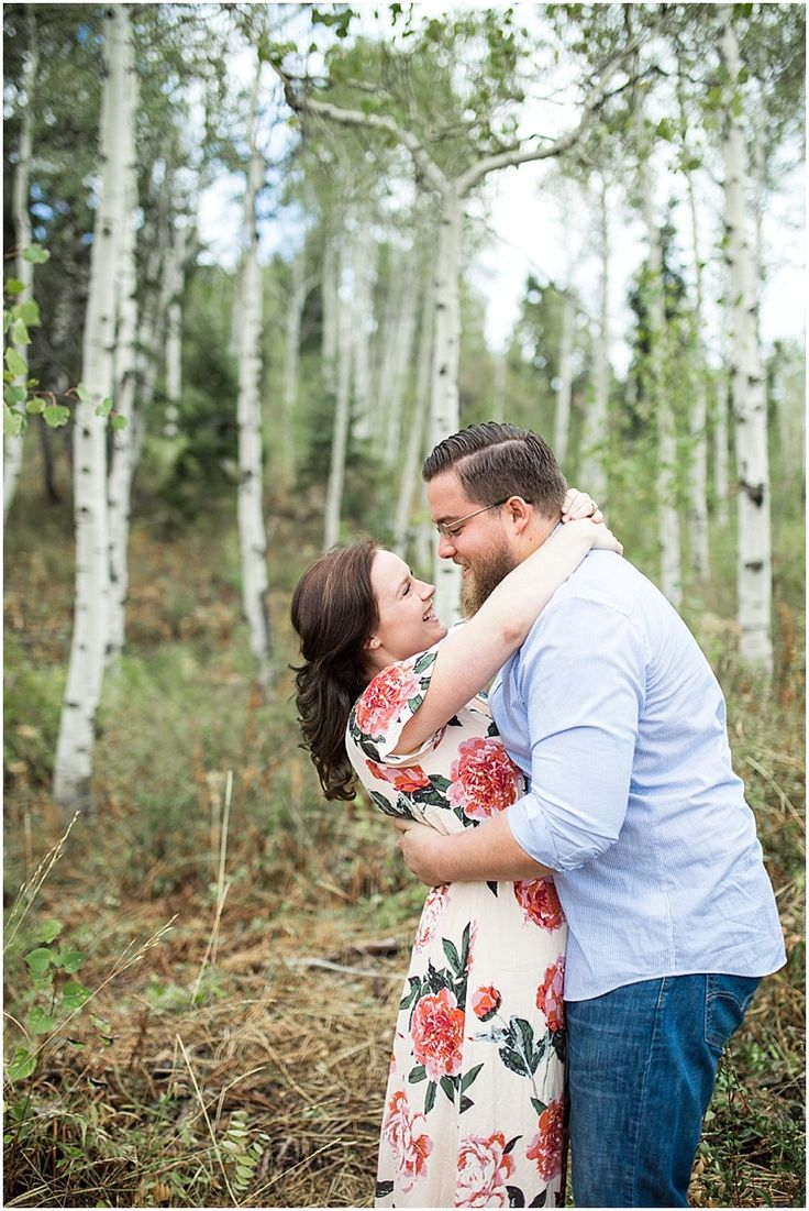 LOVE our engagement photos in the aspen grove just outside Snow Basin Ski Resort in Utah!  Special thanks to Kailee from www.kellphotography.com/ for letting us bring our dogs and getting some fun candid shots!  Gorgeous!!