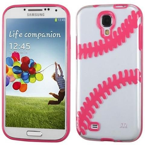 MYBAT Baseball Gummy Cover Galaxy S4 Case - Clear/Pink