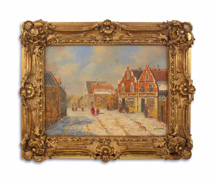 Olieverf schilderij, winterlandschap  https://www.antiekenbrocantereplica.nl.