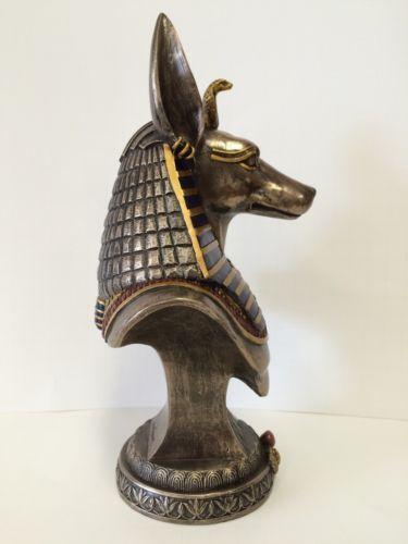 Anubis-Egyptian-God-Bust-On-Plinth-Statue-Sculpture-WE-SHIP-WORLDWIDE