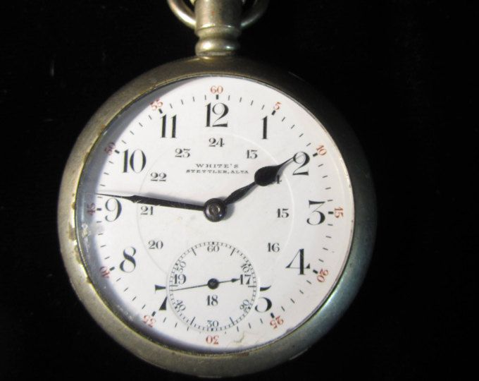 Stettler 24 horas Railroad Pocket Watch #18 blanco de 1880 de plata, Alta