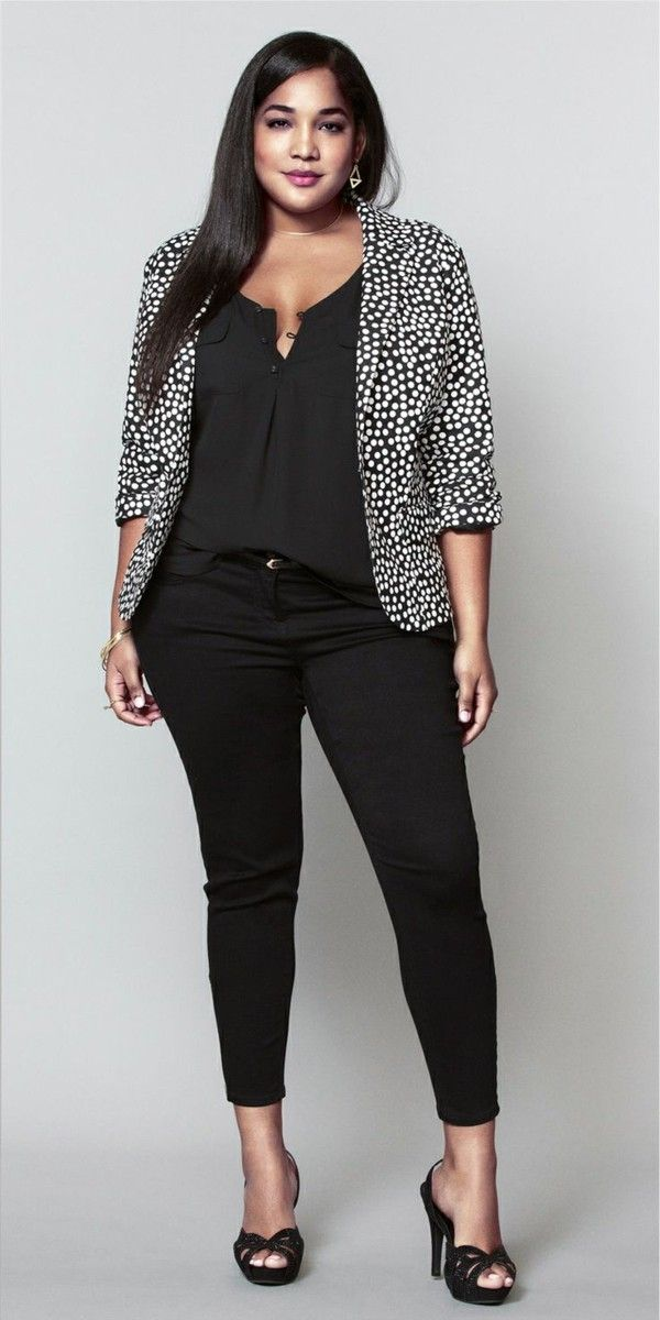 Fashion for chubby young ladies of black pants great jacket