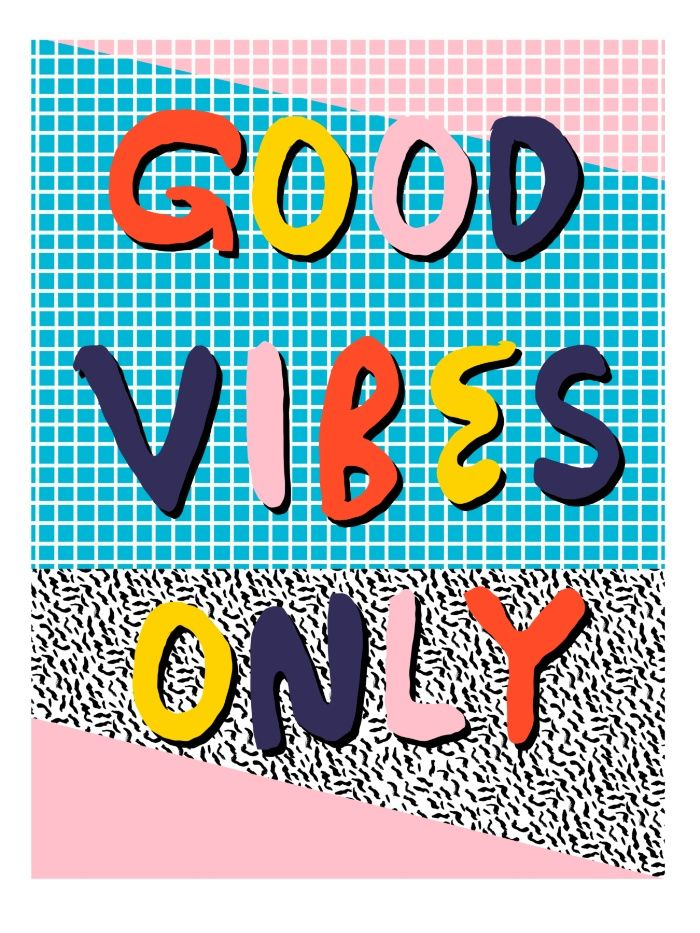 Check it - good vibes happy smiles fun modern memphis throwback art 1980's 80's 80s 1980s 1980 neon  Art Print
