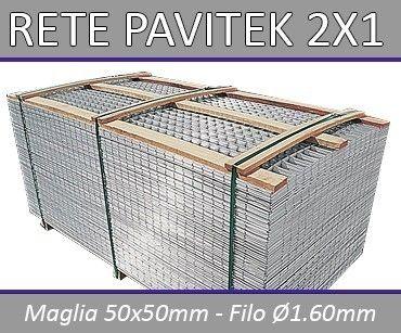 Rete Massetto Pavitec Foglio Mt 2x1 Condizione  Nuovo  Rete per Massetto Elettrosaldata Zincata tipo pavitek    Dimensioni Pannello 2x1 mt | Maglia Della Rete 50x50 mm | Filo Ø1.60  Confezione da Pz 20-40-60-80-100-200  OFFERTA PALLET 400 PEZZI!  OFFERTISSIMA PALLET 840 PEZZI  SPEDIZIONE GRATUITA  Questa Tipologia di Rete Elettrosaldata a pannelli è ottima per il rinforzo di massetti in cemento o per intonaci per una lunga durata nel tempo!