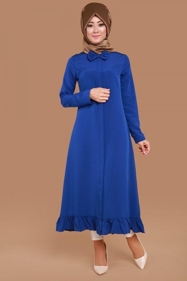 Yakası Fiyonk Detay Tunik Saks Ürün kodu: MDH8065 --> 69.90 TL