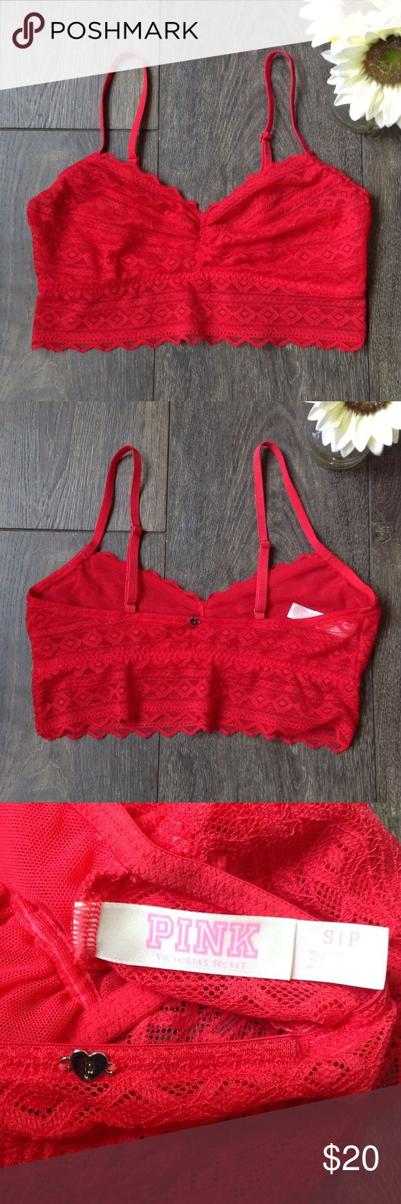 Victoria's Secret PINK bright red bralette EUC (perfect, no signs of wear), lightly lined, stretchy, adjustable straps PINK Victoria's Secret Intimates & Sleepwear