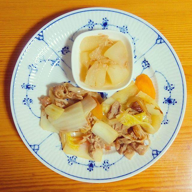 🍴冬瓜とツナの煮物 🍴白菜と豚肉の中華炒め . 冬瓜は味が淡白なので、濃いめの味をつけるととてもおいしいです。今回はツナ味にしてみました。 . #体をあたためる#健康#栄養#ランチ#朝ごはん#ヘルシー#野菜たっぷり#肉#おうちごはん#自炊#料理#デリスタグラマー#クッキングラム#ロイヤルコペンハーゲン#ロイコペ#テーブルコーディネート#おしゃれ#食器 #royalcopenhagen#japan #foodpics#cooking#table#tablecordinate #instafood#delicious#vegetables#healthyfood