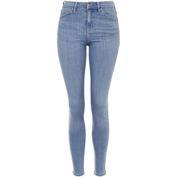 TopShop Petite Moto Bright Blue Jamie (210 BRL) ❤ liked on Polyvore featuring jeans, pants, trousers, bright blue, blue high waisted jeans, petite jeans, skinny fit jeans, rock and roll jeans and denim skinny jeans