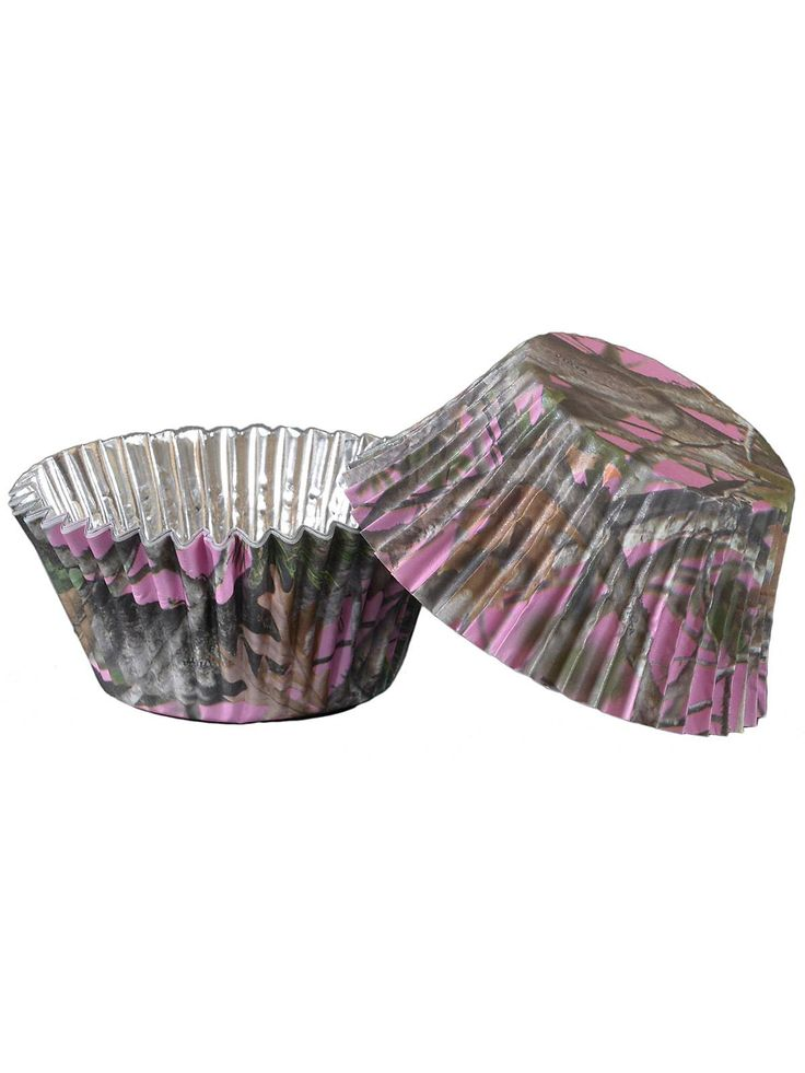 Pink camo foil cupcake cups 36 pack pink camo camo for Pink camo decorations