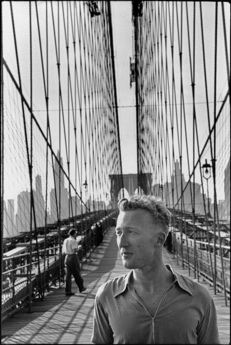 Henri Cartier-Bresson - New York City. Brooklyn Bridge. 1947. French writer and journalist, Claude ROY.
