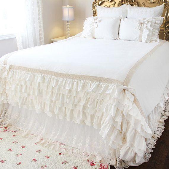 Ivory White Ruffle Crochet Eyelet Lace Luxury Shabby Chic Duvet