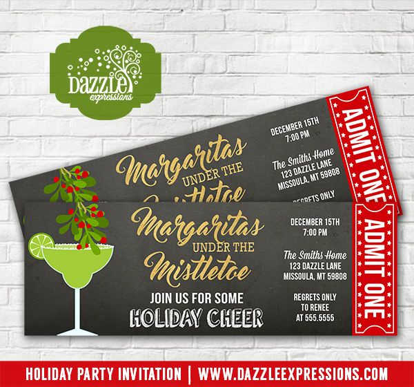 Christmas Party Ticket Template Free: Printable Margaritas Under The Mistletoe Holiday Party
