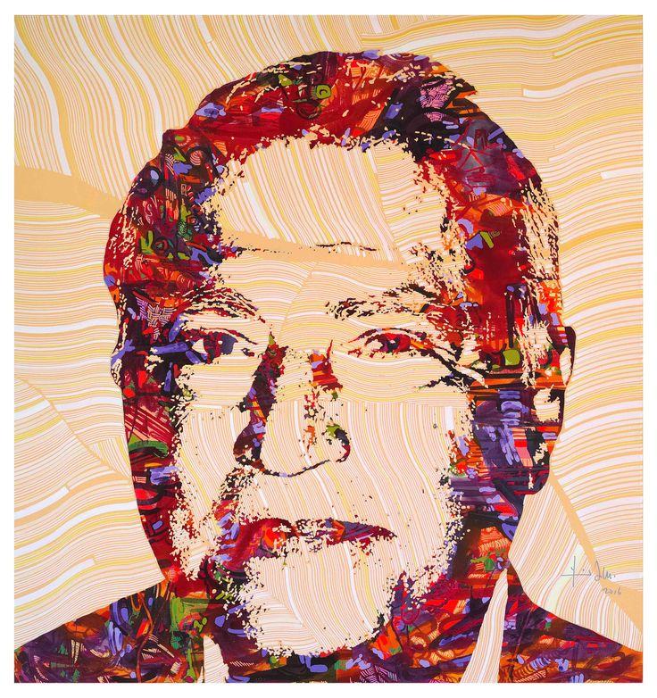 Abdel Rahman Hourie portrait, acrylic on canvas, 160x150cm 2016