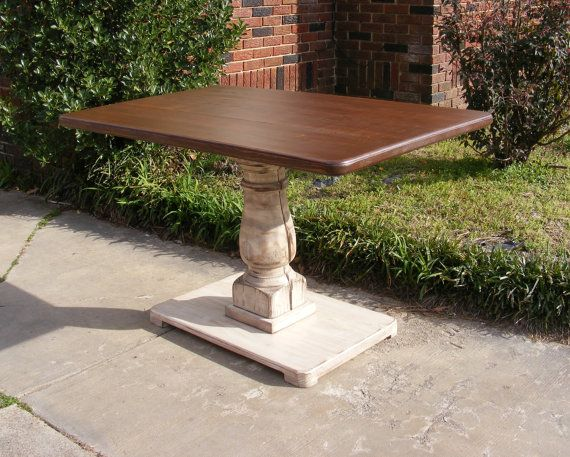 handcrafted rectangle pedestal table distressed brown and ivory with balustrade leg in 2019. Black Bedroom Furniture Sets. Home Design Ideas