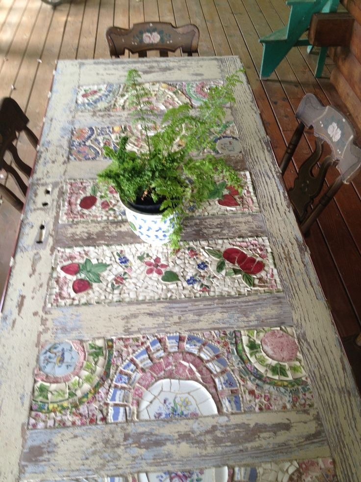 mosaic table from a door