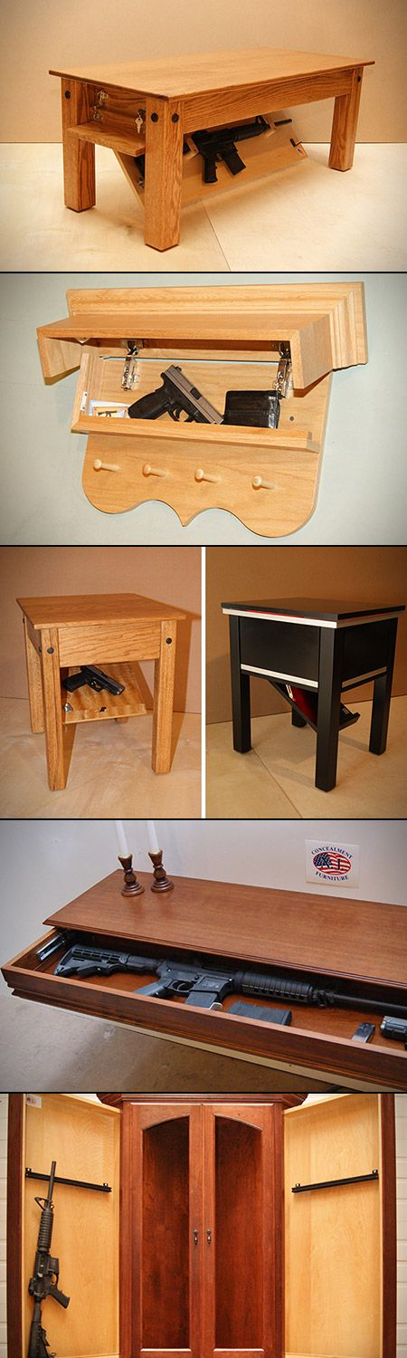 """New Jersey Concealment Furniture. The designers have created not just just one or two pieces, but an entire range of furniture dedicated to concealed firearms storage."" Not that you need to them for just firearms. They're automatically cool because of the hidden compartments."