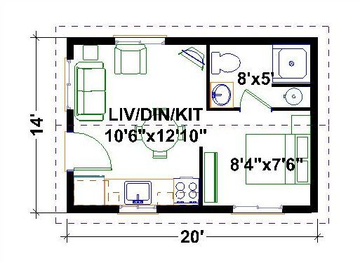 Very Tiny Houses Floor Plans One Bedroom Homes