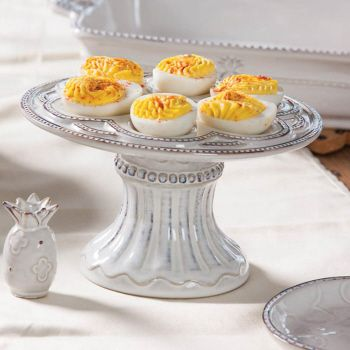 Sweet Celebrations Ceramic Pedestal 6 Egg plate and Shaker from Cypress Home (www.myevergreenonline.com)