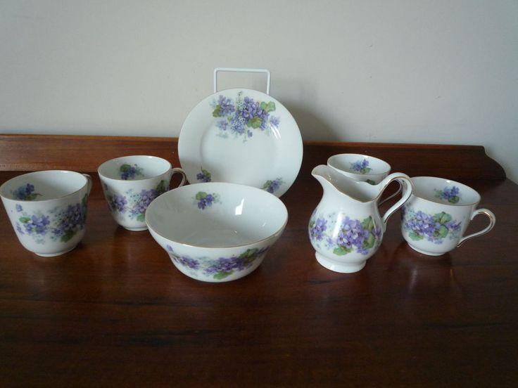 Vintage Czechoslovakia Victoria china bowl, jug,4 cups and plate - violet design  | eBay
