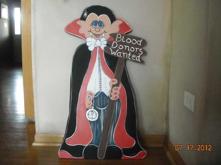 Dracula for Halloween, Blood Donors Wanted, Wood Lawn Ornament, Yard Art. $40.00, via Etsy.