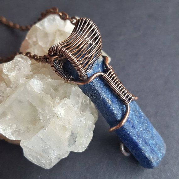 Wire Wrapped Jewelry Wire Wrapped Crystal Lapis by WireMoonJewelry