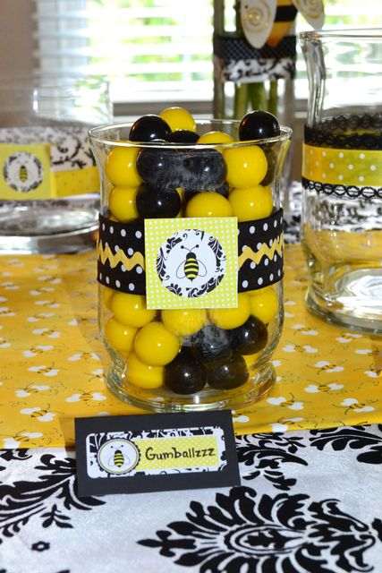 "Honeybee party theme. Used for gender reveal or baby shower. Would be cute for kids party! Photos from ""Catch my Party"""
